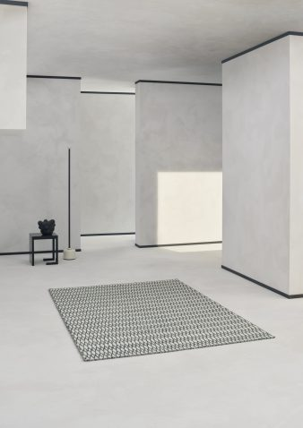 Block & Chisel black and white wool rug with diamond detail