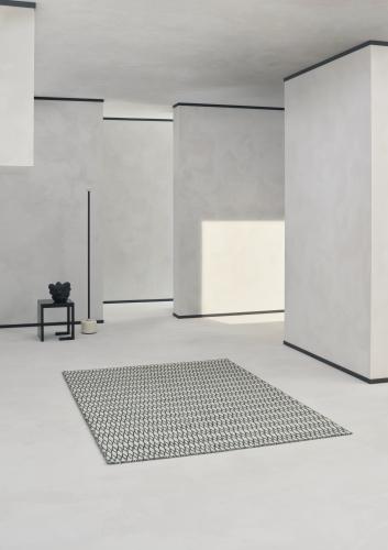 Block & Chisel black and white wool rug with diamond detai