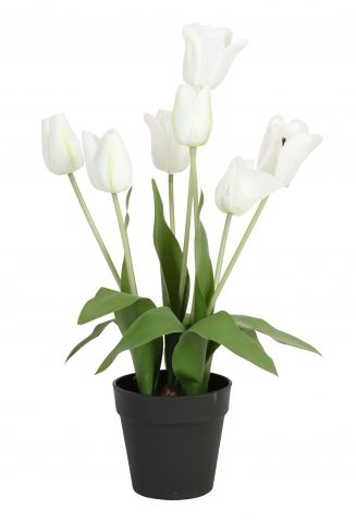 Potted Tulips - white faux artificial tulip flower in pot