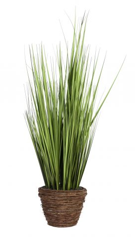onion grass faux plant potted in brown round pot