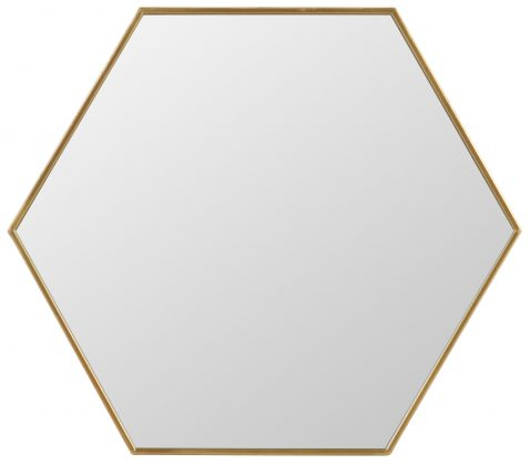 Block & Chisel iron hexagon mirror with antique gold finish