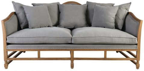 Block & Chisel grey upholstered sofa with wooden frame