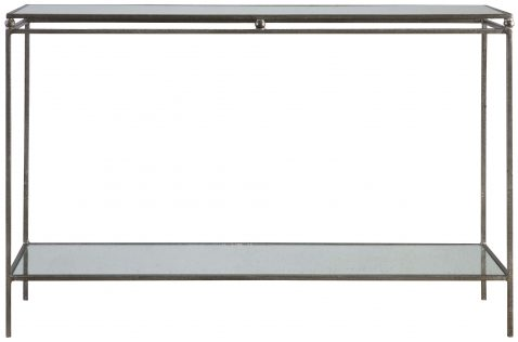 Block & Chisel rectangular iron console with mirrored tops
