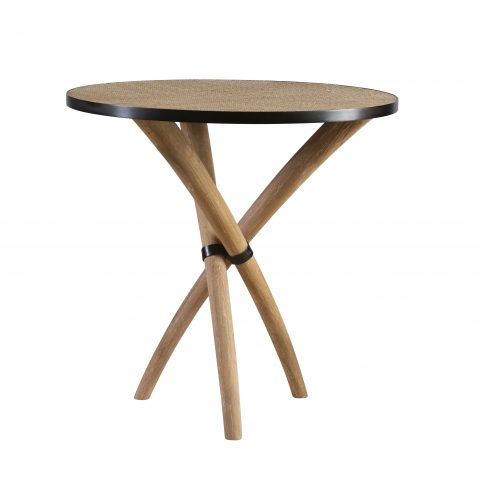 Wooden side table with 3 legs, rattan top.