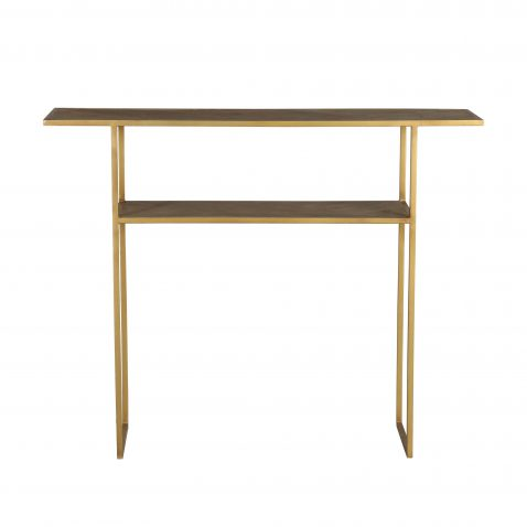 2 tier metal and wood console