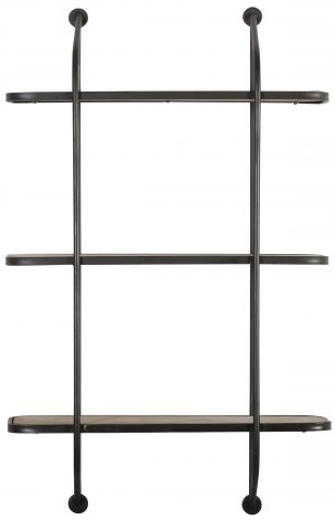 Block & Chisel black iron 3 tier wall shelf with MDF shelves