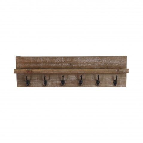 Wooden wall coat rack with metal hooks