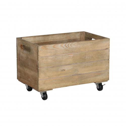 Medium wooden crate on castors