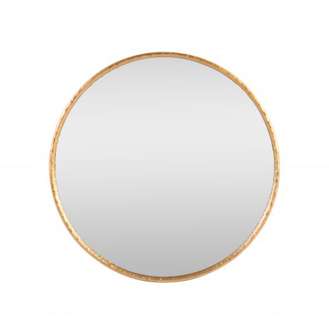 distressed large round gold mirror