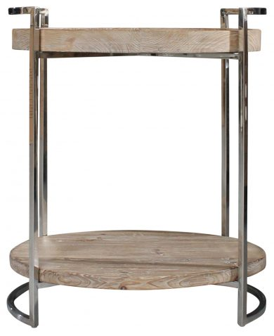 Block & Chisel wooden side table with stainless steel frame
