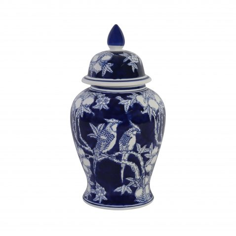 blue and white bird desing ginger jar with lid