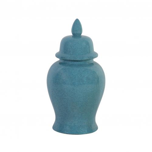 Ceramic ginger jar in blue with crackle detail
