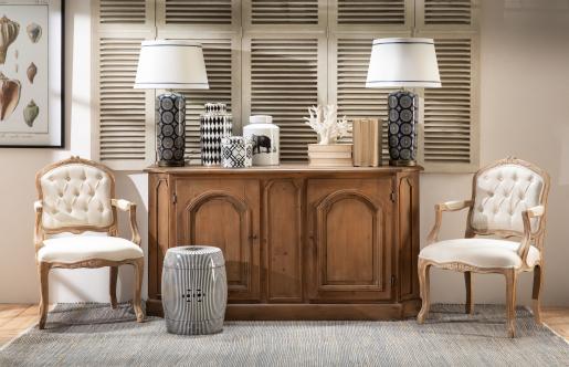 Black and white stripe ceramic stool