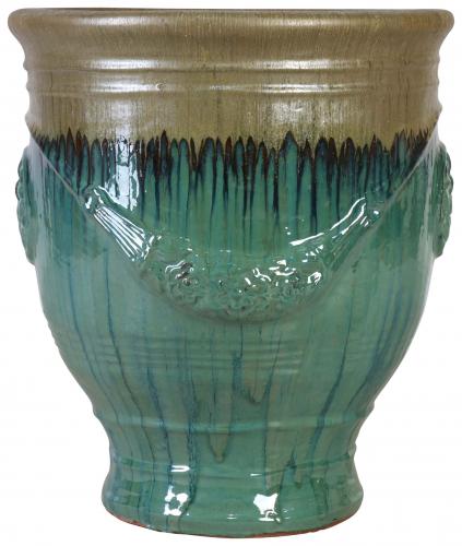 Block & Chisel blue terracotta pot with glaze