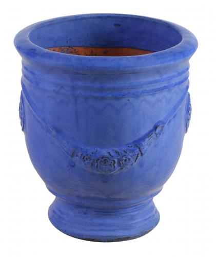 Block & Chisel terracotta pot with blue glaze