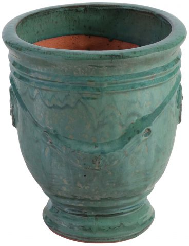 Block & Chisel terracotta pot with green glaze