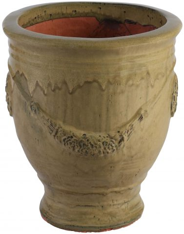 Block & Chisel terracotta pot with mustard glaze