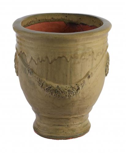Block & Chisel terracotta pot with mustard glaze