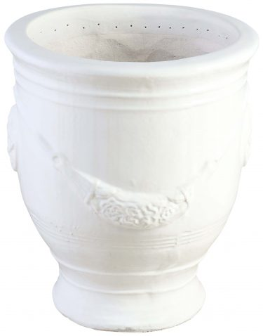 Block & Chisel terracotta pot with white glaze