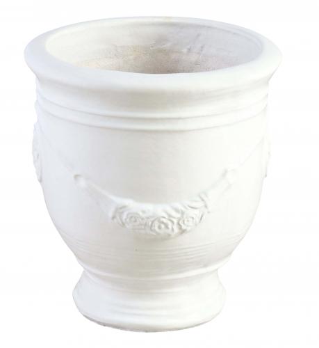 Block & Chisel terracotta pot with white glaze