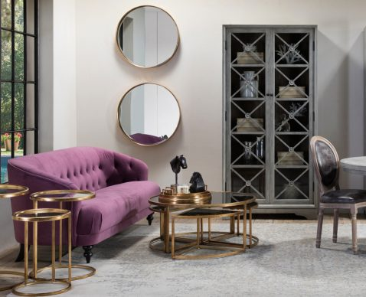 Block & Chisel purple velvet sofa