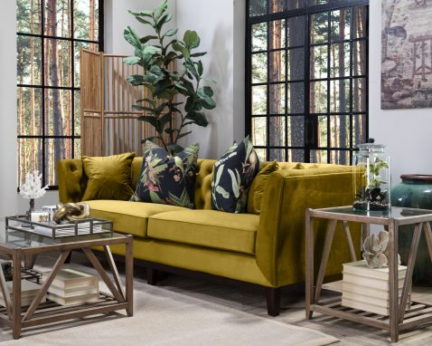 Karissa Gold Sofa with tufted detailed back and wooden legs