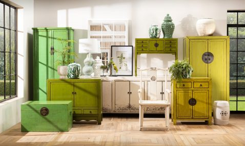 green lacquered chinese cupboard