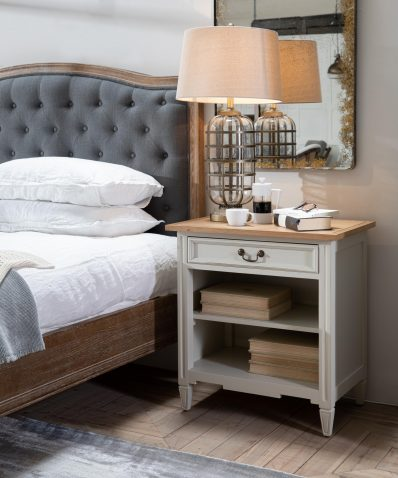 Block & Chisel weathered oak bedside table with antique white base