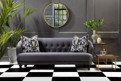 Bentely sofa in grey velvet