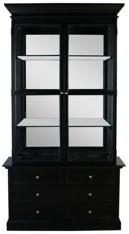 Block & Chisel black solid oak display cabinet with glass top