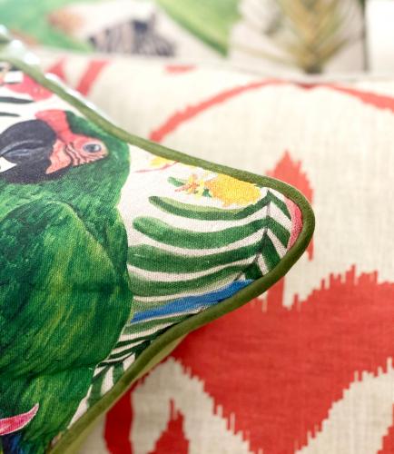 Block & Chisel Cushion parrot bird jungle green pink