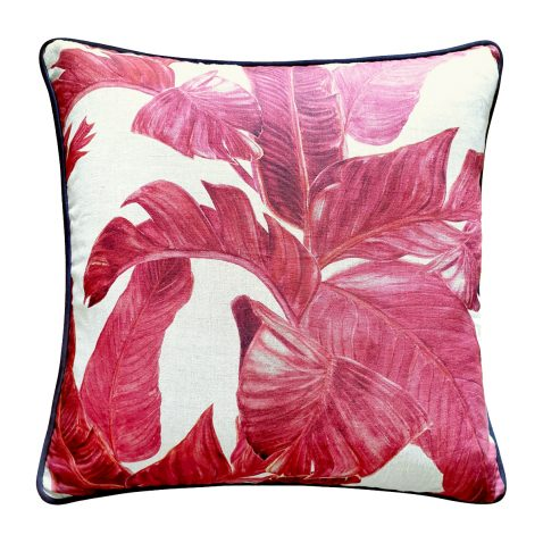 Block & Chisel leaf cushion pink linen
