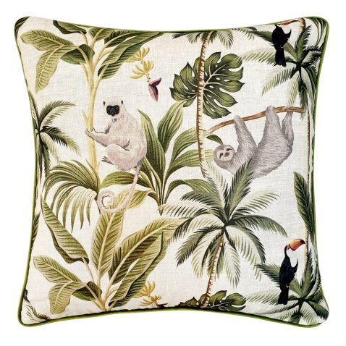 Block & Chisel monkey print and velvet cushion green grey