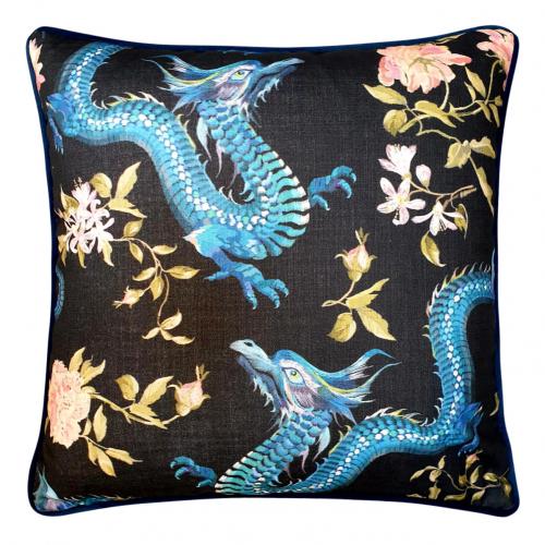Block & Chisel Cushion blue dragon black leaf