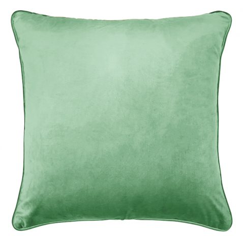 Green with black and white illustration of monkey in forest cushion, made in south africa
