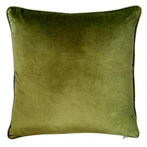 cushion with green velvet backing