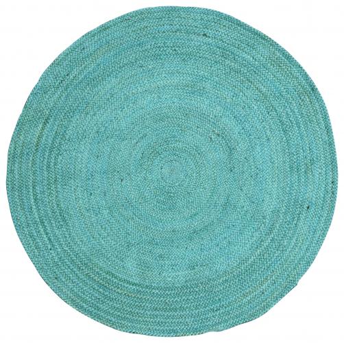 Block & Chisel round blue braided jute carpet