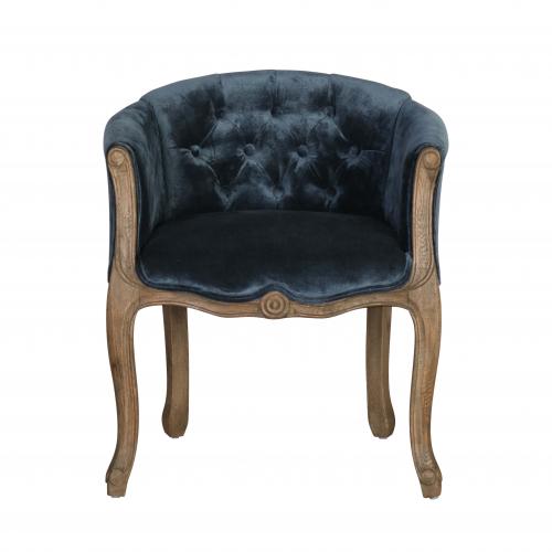 small boudoir chair in blue velvet