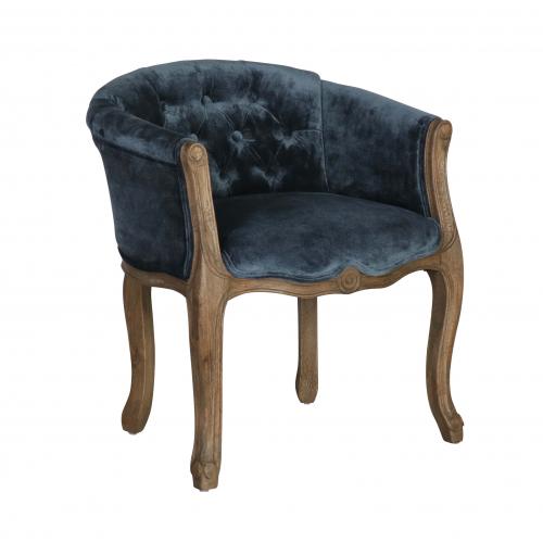 small boudior chair in blue velvet