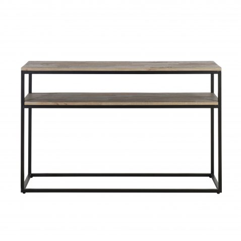 Wood and metal 2 tier console