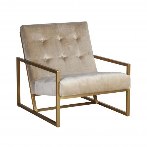 modern gold frame armchair in velvet