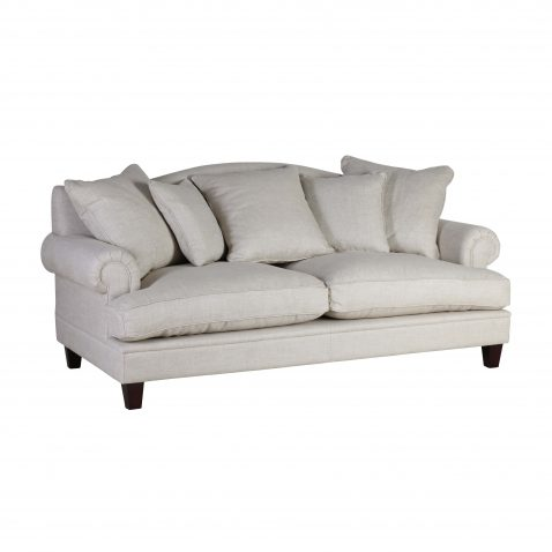 Classic block and chisel linen sofa