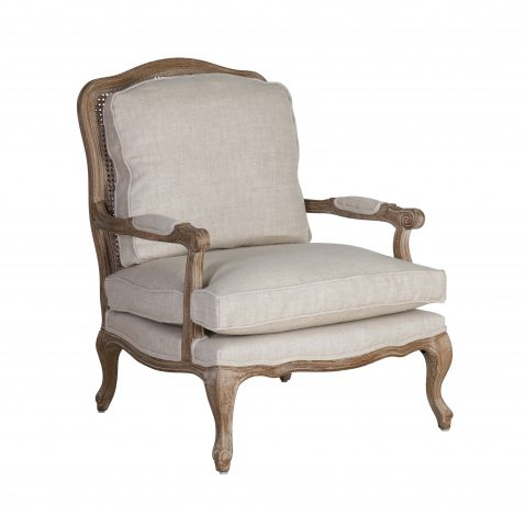 Classic cream cushioned armchair with cabriole legs