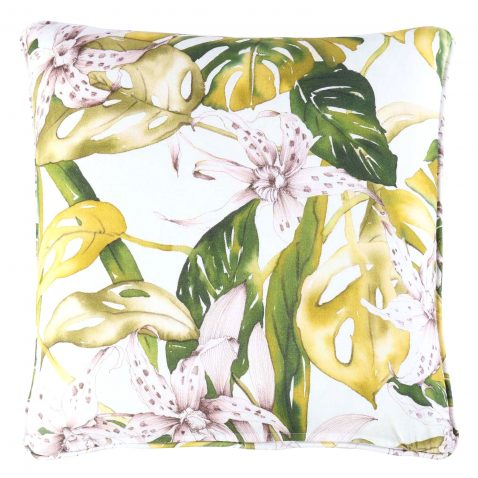 green yellow cushion in floral pattern, tropical, back