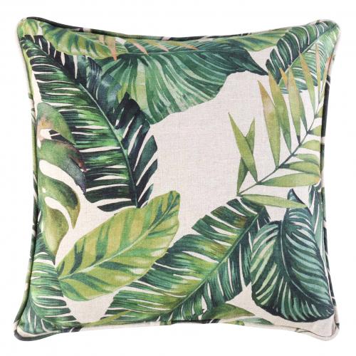 tropical green leaf scatter cushion