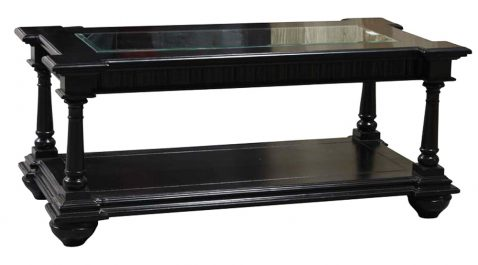 Block & Chisel black wooden rectangular coffee table with glass top