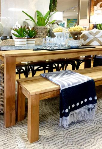 Block & Chisel rectangular outdoor teak wood bench