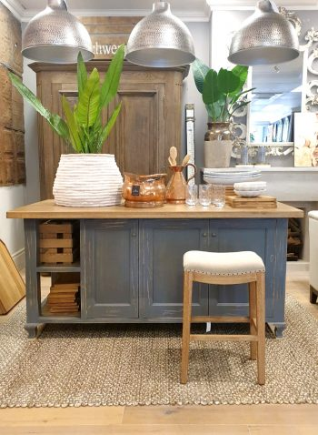 Block & Chisel Kitchen Island in antique white and Weathered Oak