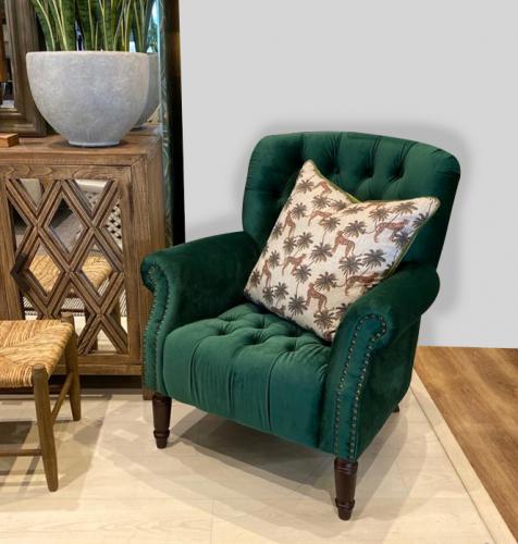 green emerald velvet armchair