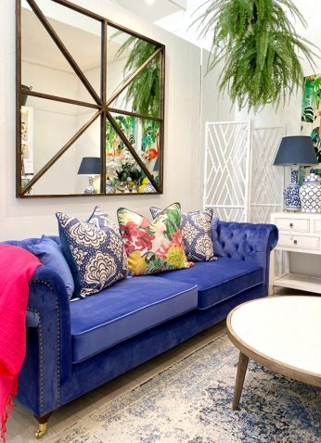 Blue tufted 3 seater sofa
